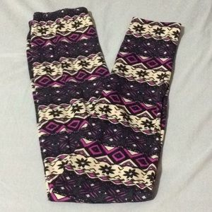 Pants - Purple, navy & tan leggings NWOT